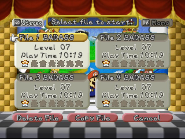 Paper Mario - Game Select  -   - User Screenshot